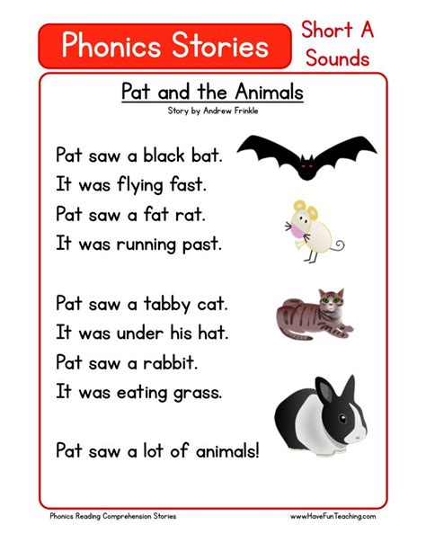 this reading comprehension worksheet pat and the animals