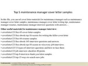 cover letter for maintenance manager top 5 maintenance manager cover letter sles