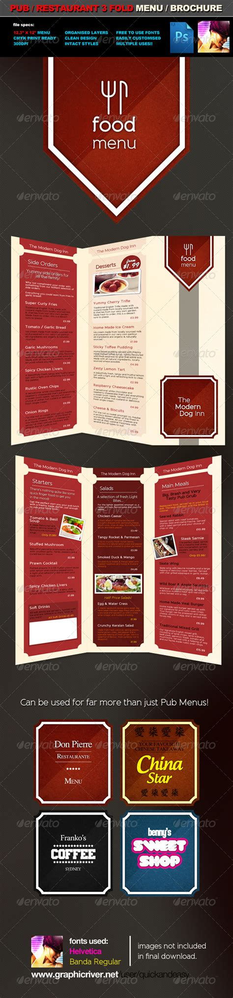 3 fold pub food menu brochure template by quickandeasy