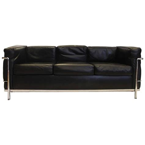 le corbusier leather sofa vintage le corbusier lc2 three seat leather sofa by