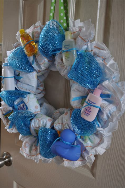 Baby Shower Gifts by Rolled Diaper Wreath Instructions Decorated With