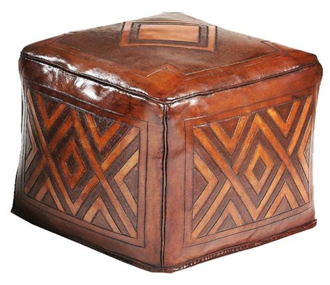 brown patterned ottoman tooled leather large square ottoman with diamond pattern