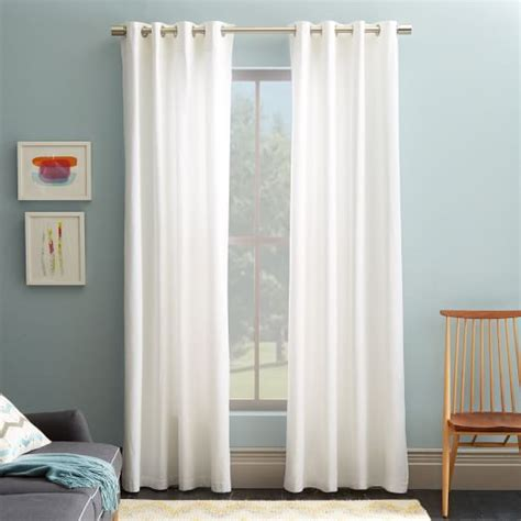white curtains cotton canvas grommet curtain white west elm