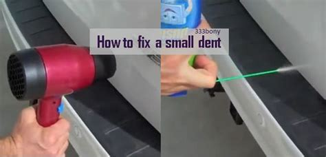 Hair Dryer Fix Car Dent fixing a small dent in your car paintless dent using only a hair dryer and a duster