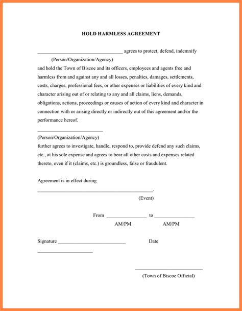 waiver of liability and hold harmless agreement template release and hold harmless agreement template release and