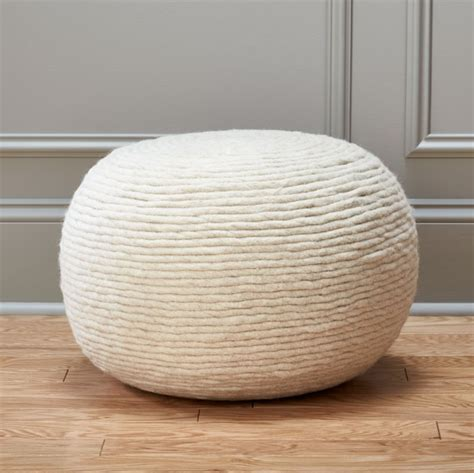 pouf chair wool wrap pouf cb2