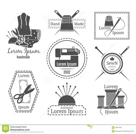 sewing pattern logos vintage tailor logo or badges stock vector image 48617661
