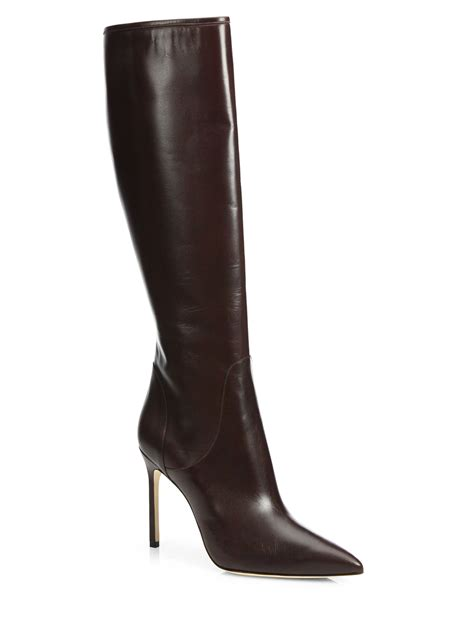 brown knee high boots manolo blahnik hanzuotal leather knee high boots in brown