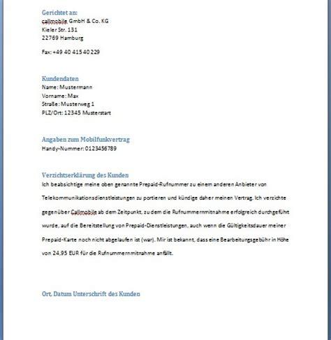 Kündigung Muster Handyvertrag O2 O2 K 252 Ndigung Vorlage Kostenlos