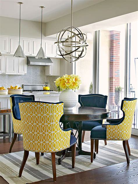 yellow dining room table yellow dining chairs contemporary dining room bhg