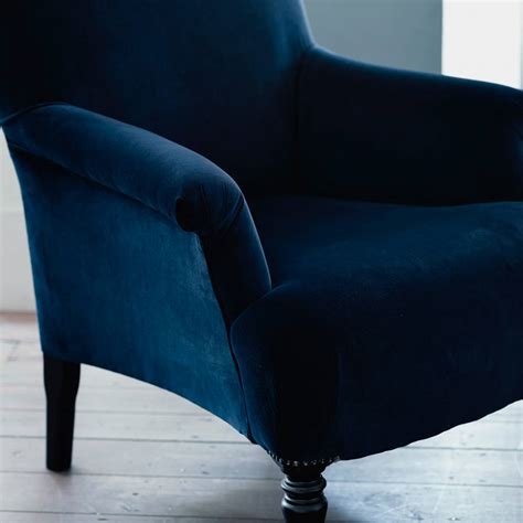 blue velvet armchair finley velvet armchair midnight blue by rowen wren