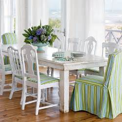 Coastal Dining Room Sets by Preppy White Dining Room Striped Chairs Beach Style