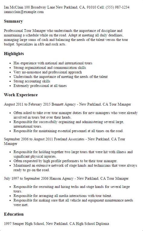 Tour Manager Cover Letter by Tour Manager Resume Template Best Design Tips Myperfectresume