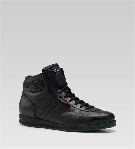 gucci leather high top sneaker black gucci hi top lace up sneaker black leather sneaker
