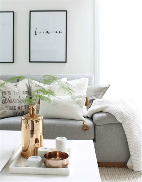copper living room scandinavian livingroom black white grey copper decorative accents vases home
