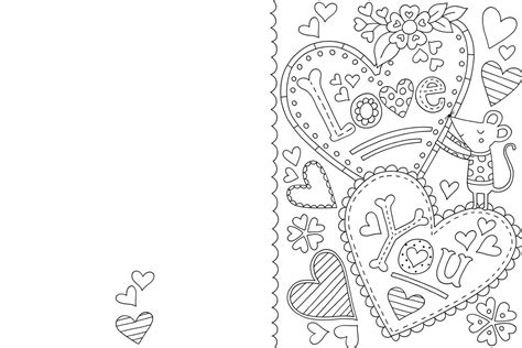 Free Valentine S Card Colouring Download Hobbycraft Blog Card Templates To Color