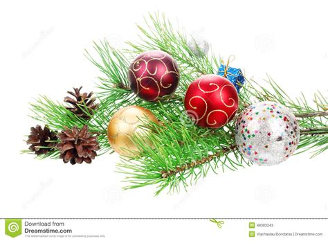 christmas branch tree with decoration stock photo image