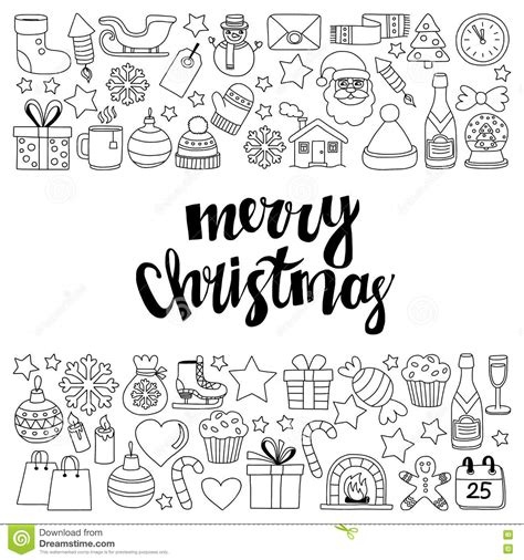 doodle happy new year doodle vector icons merry and happy new year