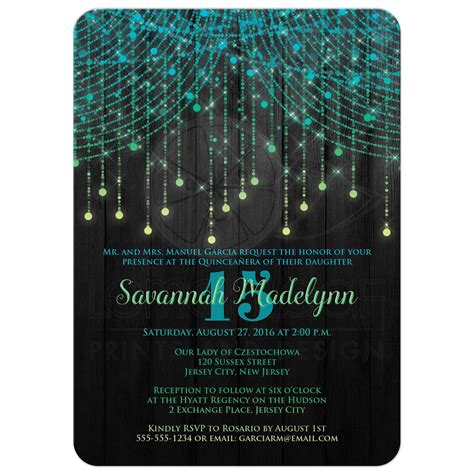 Design House Decor Wedding quincea 241 era invitation lime turquoise yellow black