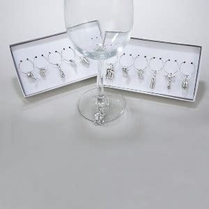 6 5 quot pewter wine glass charm ornaments 6pc 2 asstd boxes