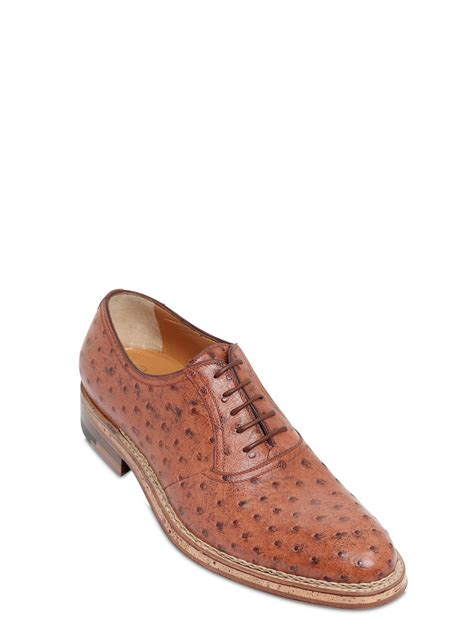 a testoni shoes a testoni ostrich leather oxford lace up shoes in brown