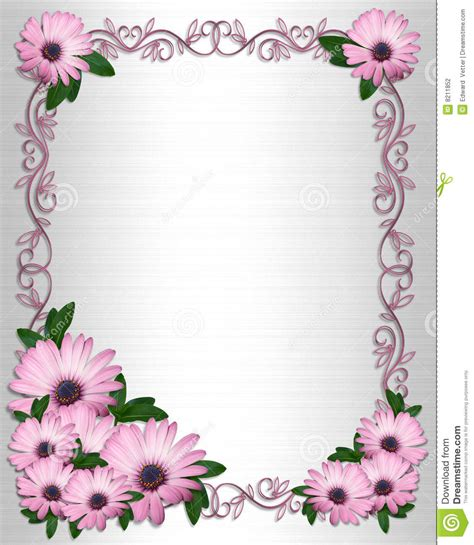 wedding invitation backgrounpurple daisies border stock