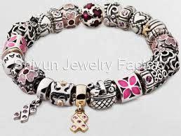Pandora Enamel Charms 4petal Flower P 564 charm bracelets pandora quot breast cancer awareness quot pandora four petal flowers sterling silver