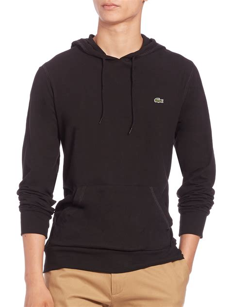 Hoodie Black Marshall Mbsa Clothing lacoste cotton pullover hoodie in black for lyst