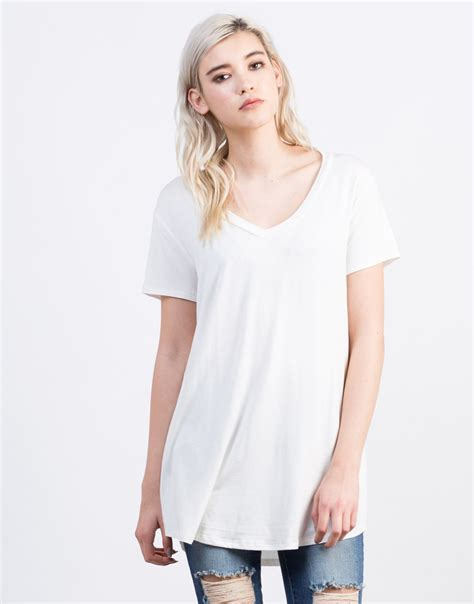 T Shirt Wanita Tunic basic t shirt tunic top white flowy t shirt 2020ave