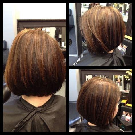 diy stacked bob stacked bob haircut w chunky highlights back view i m