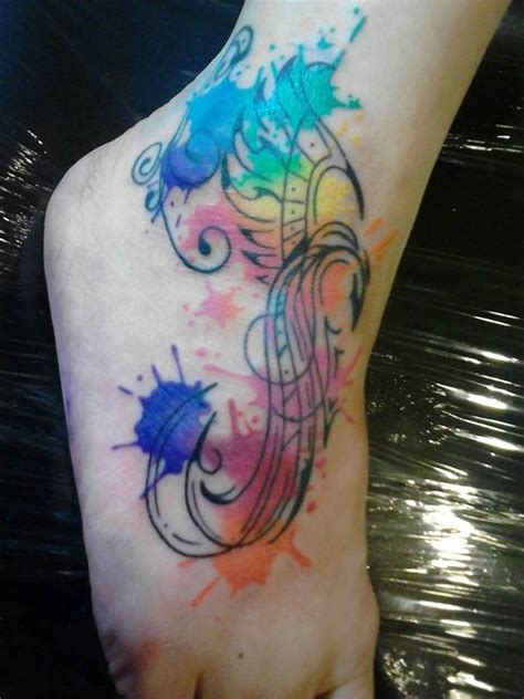 watercolor tattoos foot pin by on canvas
