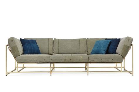 military sofa vintage military canvas and polished brass sofa for sale