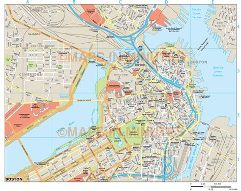 map of the city of boston usa city map