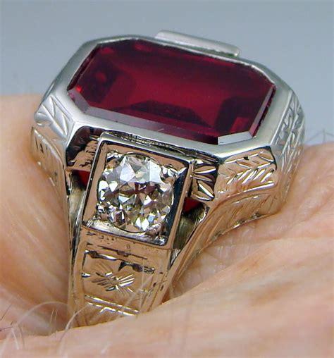 mens ring antique vintage deco estate 1920s 14k white gold