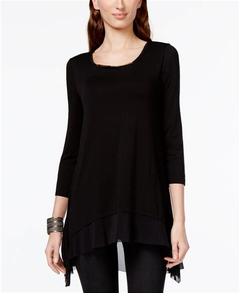 Express Black Layered Top cable layered mesh hem top in black black gold