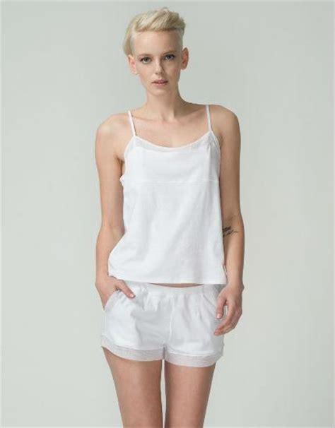 White Cotton Cami tulle trim cotton cami in white by skin catriona mackechnie