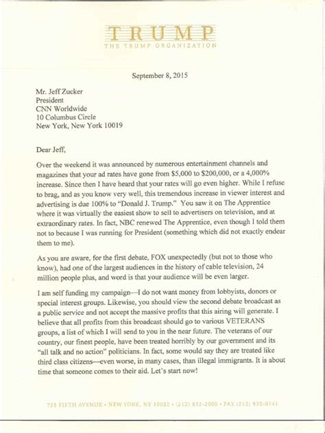 Financial Post Letter To The Editor Donald S Letter To Cnn President Jeff Zucker