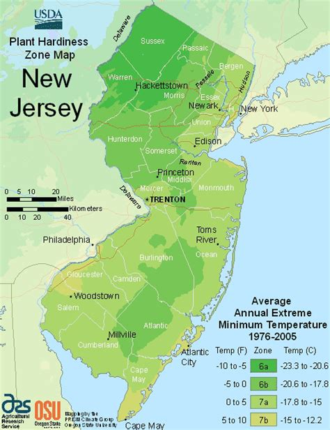 USDA New Jersey Plant Growing Zones Map