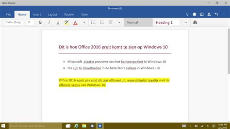layout nederlands zo ziet office 2016 eruit op windows 10 computer idee