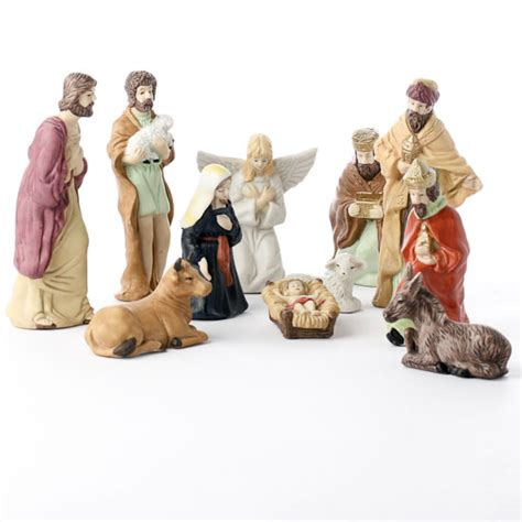 porcelain nativity figurine set christmas and winter
