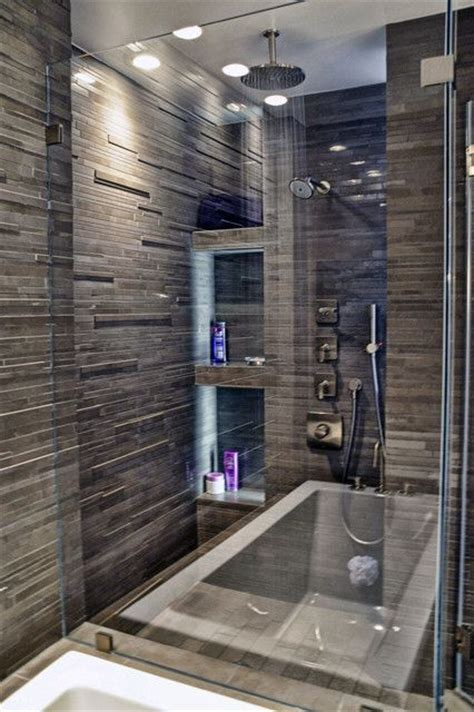 Dark Tile Bathroom Ideas by Pretty Walk In Shower With Dark Tile Bathrooms Ideas