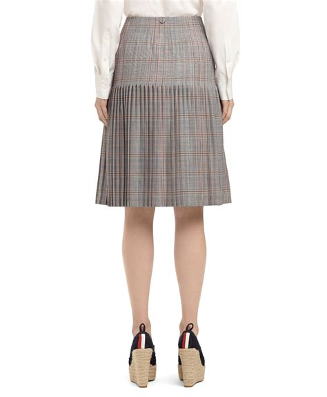 lyst brothers large plaid pleated skirt in blue