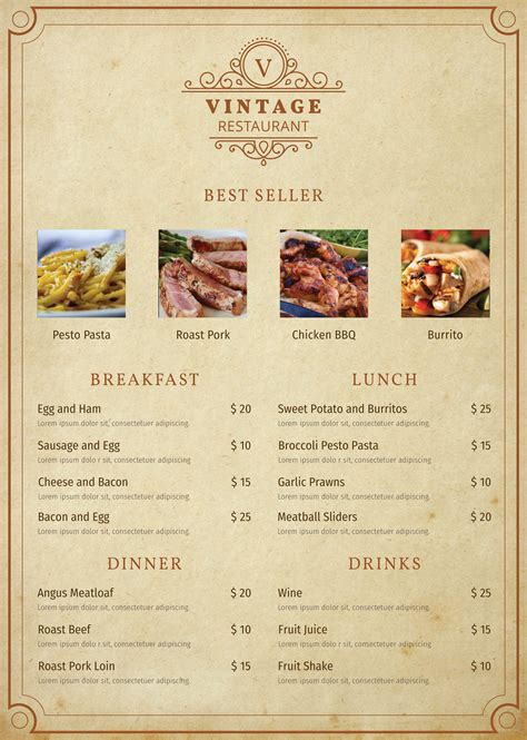 Free Vintage Menu Template In Adobe Photoshop Illustrator Microsoft Word Publisher Apple Free Menu Templates For Mac