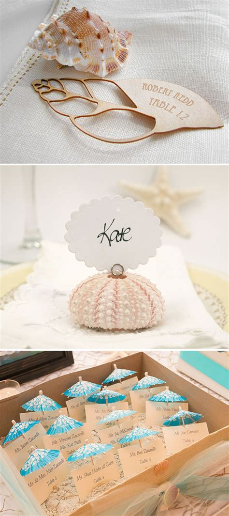 wonderful escort  place card ideas   beach