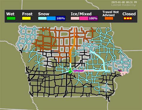 iowa road conditions color map iowa travel weather