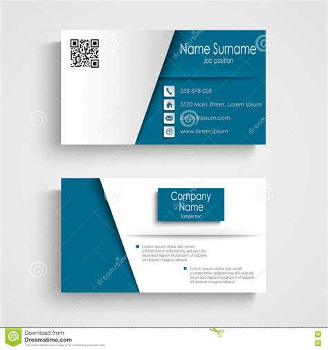 blue card template business card with blue white effect design template stock