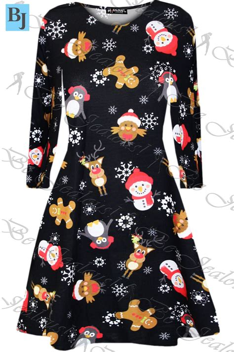 christmas swing womens kids christmas swing dress childrens santa gift
