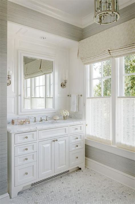 master bathroom white white and gray master bathroom with schumacher haiku sisal