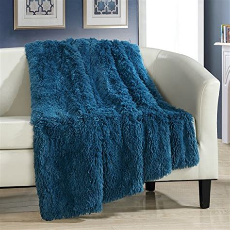 amazon com turquoise teal shaggy chic home elana shaggy faux fur supersoft ultra plush