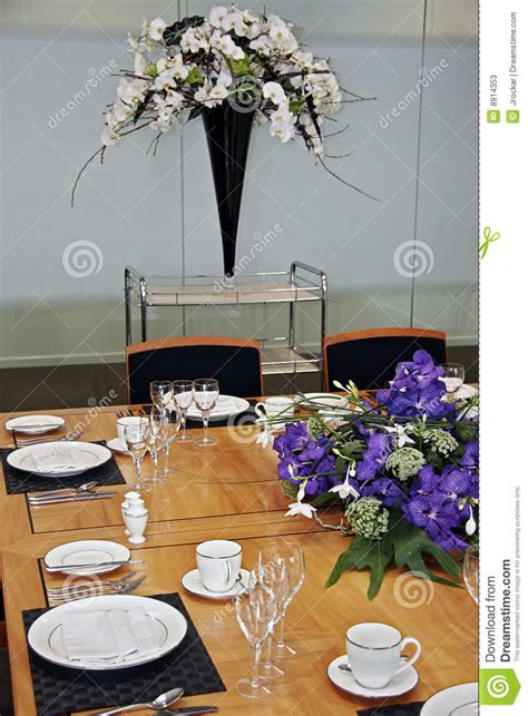 Formal Dining Table Set Up Formal Dining Table Set Up With Cut Flowers Stock Image Image 8914353